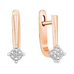 Серьги в комбинированном цвете золота с бриллиантами 000131248