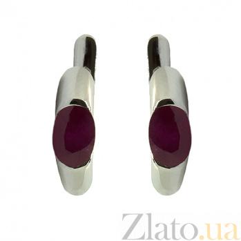 Золотые серьги с рубинами Зафира в белом цвете ZMX--ER-6035w_K