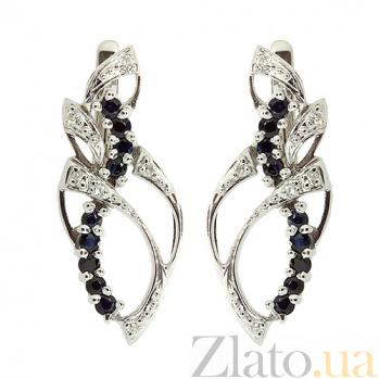 Серебряные серьги с бриллиантами и сапфирами Лара ZMX--EDS-6187-Ag_K