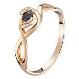 Кольцо в красном золоте Келли с сапфиром и бриллиантами