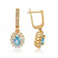 Золотые серьги-подвески Ванесса с голубым топазом и фианитами