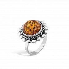 Серебряное кольцо Оливи с янтарем и чернением