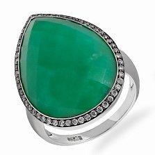 Кольцо в белом золоте Надежда с бриллиантами и хризопразом