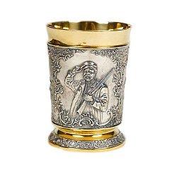 Серебряный стакан Старый охотник с позолотой