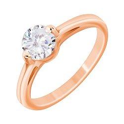 Серебряное кольцо с позолотой и фианитом 000052242