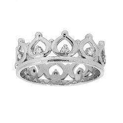 Серебряное кольцо-корона с бриллиантами и родированием 000050775