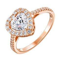 Золотое кольцо Николета в красном цвете с сердечком и кристаллами Swarovski