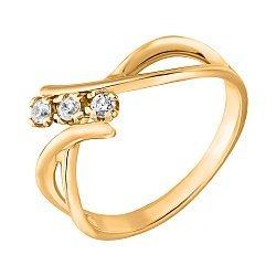 Золотое кольцо Триада в желтом цвете с фантазийной формой шинки и белыми фианитами