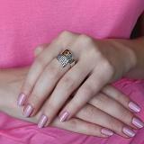 Серебряное кольцо с золотой вставкой и фианитами Фиеста