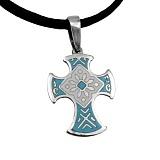 Серебряный крест с эмалью голубого цвета Казацкий