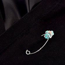 Серебряная булавка Рыбка с бирюзовой эмалью