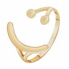 Золотое кольцо Смайлик в желтом цвете