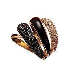 Кольцо в красном золоте Верди с эмалью и фианитами 000059855