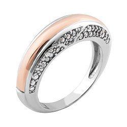 Серебряное кольцо с золотой накладкой и фианитами 000067164