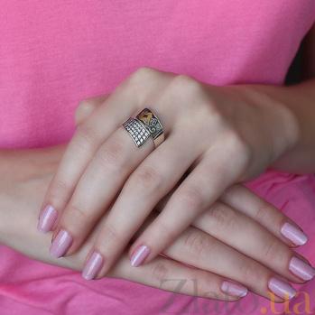 Серебряное кольцо с золотой вставкой и фианитами Фиеста 000012264