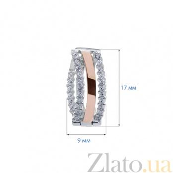 Серьги серебряные с золотом Бритни AQA--179С Цр