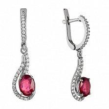 Серебряные серьги-подвески Шантье с рубинами и фианитами