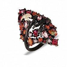 Серебряное кольцо с топазами от Swarovski и чёрным родием Райская птица