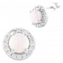 Серебряные серьги-пуссеты Дагмар с розовыми опалами и фианитами