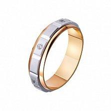 Золотое обручальное кольцо Узы страсти с фианитами