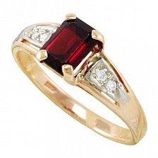 Золотое кольцо Тереза с гранатом и фианитами