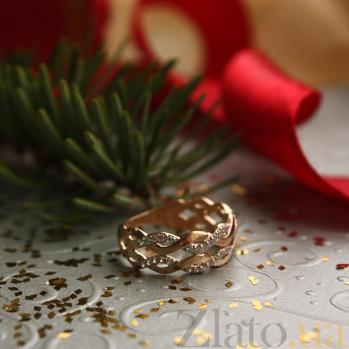 Кольцо в красном золоте Софи с фианитами SVA--1190863101/б/Фианит/Цирконий