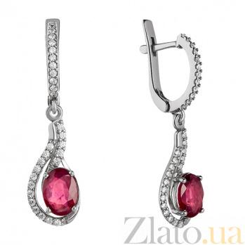 Серебряные серьги с рубином Шантье 000015370