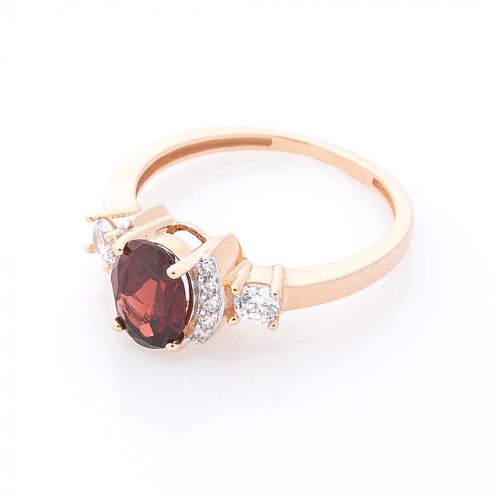 Золотое кольцо Августина в красном цвете с гранатом и белыми фианитами 000082342