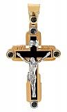 Золотой крест Небеса в комбинированном цвете с агатом (ониксом) и фианитами