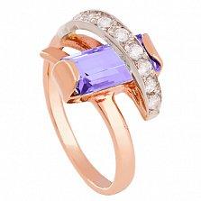 Золотое кольцо Себастьяна с аметистом и фианитами
