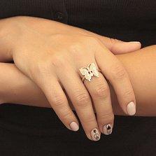 Серебряное кольцо Радужная бабочка с белыми опалами