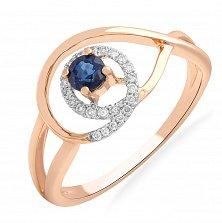 Золотое кольцо Памелла с сапфиром и бриллиантами