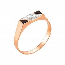 Золотое кольцо-печатка Мимезис с эмалью и фианитами