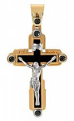 Золотой крест Небеса в комбинированном цвете с агатом (ониксом) и фианитами 000060091