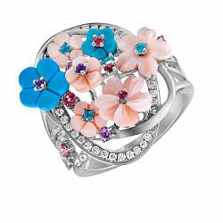 Золотое кольцо Свежесть весны с бриллиантами, топазами, аметистом, бирюзой и перламутром