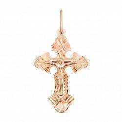 Крестик из красного золота с алмазной гранью 000136052