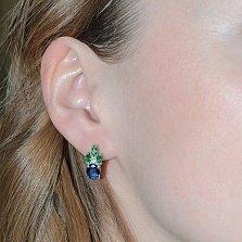 Серебряные серьги с синим и зелёным цирконием Ульяна