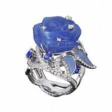 Золотое кольцо с халцедоном, танзанитами и бриллиантами Голубая роза