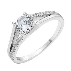 Серебряное кольцо с кристаллами циркония 000118373