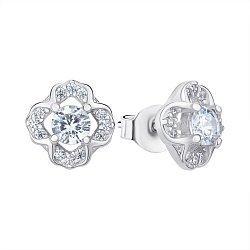 Сережки-пуссети зі срібла з цирконієм 000144822