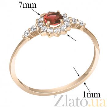 Кольцо в красном золоте Бекки с гранатом и фианитами 000023475