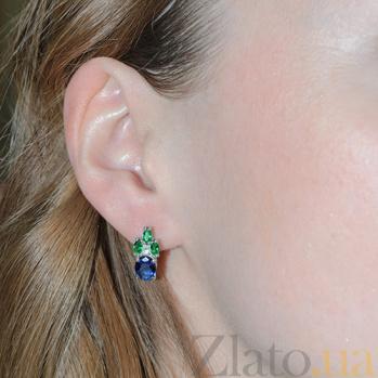 Серебряные серьги с синим и зелёным цирконием Ульяна Ульяна с/син-зел цир