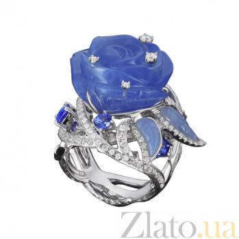 Золотое кольцо с халцедоном, танзанитами и бриллиантами Голубая роза KBL--К5004/бел/хал