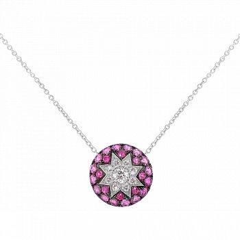 Колье из белого золота Счастливая звезда с бриллиантами, рубинами и розовыми сапфирами 000081041