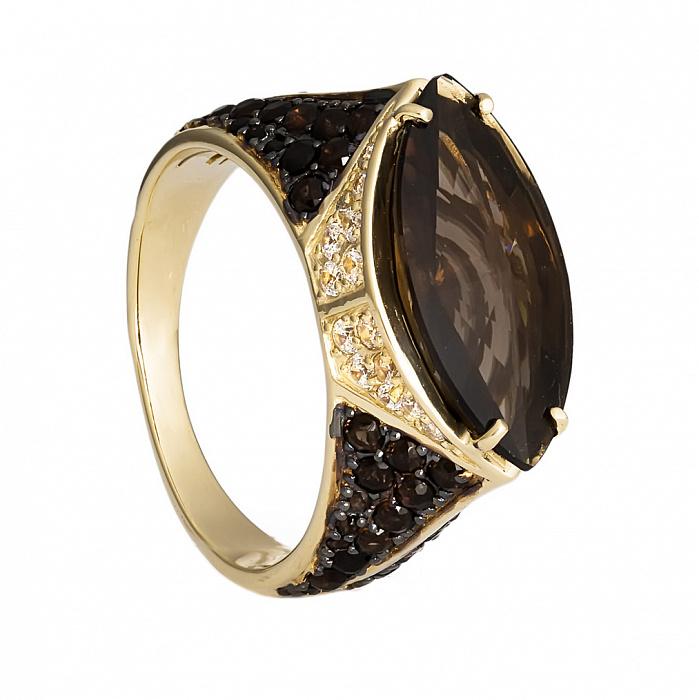 Золотое кольцо с раухтопазом Мара 000030043