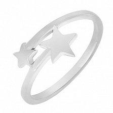 Кольцо Две звезды в белом золоте