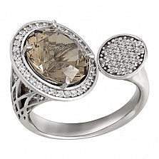 Золотое кольцо с раухтопазом и фианитами Авангард