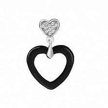 Серебряная подвеска Сердца двоих с черной керамикой и фианитами