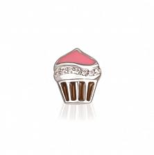 Серебряная подвеска Аппетитный кекс с фианитами, розовой и коричневой эмалью