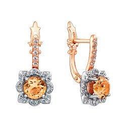 Золотые серьги в комбинированном цвете с цитринами и фианитами 000137606